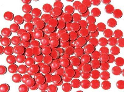 画像1: キュートな丸タイル バラ 赤色