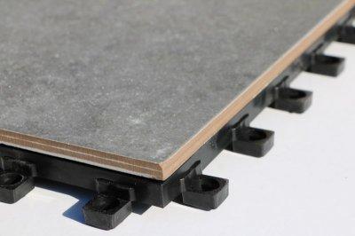 画像1: デッキ付きジョイントタイル 300角シェベル グレー PO-3006