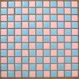 画像1: 25mm角 ピンク色×水色 市松貼り (1)