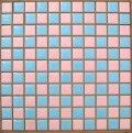 25mm角 ピンク色×水色 市松貼り